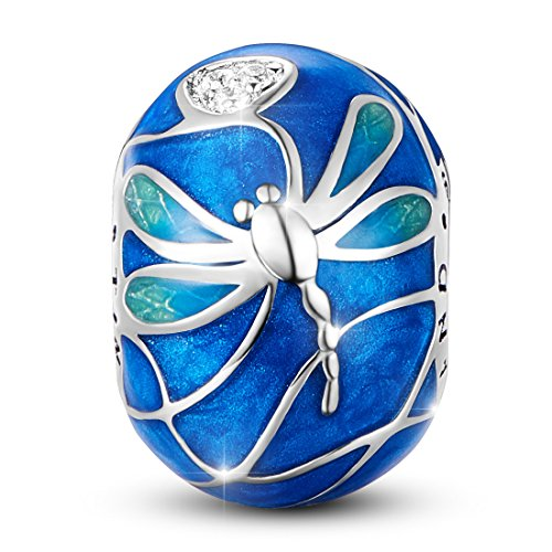 TINYSAND 925 Sterling Silver Blue Enamel Dragonfly Animal Bead Charms for European Bracelets