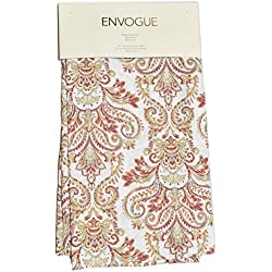Envogue Pascal Paisley Scrolls Medallions Window Panels 50 by 96-inch Set of 2 Floral Paisley Window Curtains Hidden Tabs Red Rust Orange Blue Gray Taupe Ivory (Red/White)