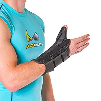 BraceAbility Thumb & Wrist Tendonitis Splint | Immobilizes Thumb Joint to Treat De Quervain's Tenosynovitis Tendon Pain, Swelling & Arthritis (M - Left Hand)