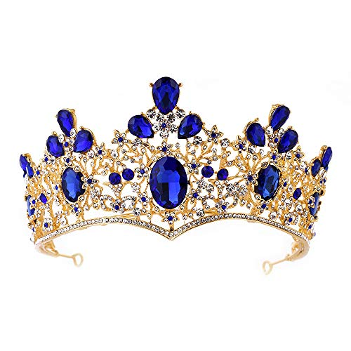 Baroque Royal Queen Gold Wedding Crown Crystal Quinceanera Princess Tiara Headbands for Women Bridal Party Birthday Headpieces (Blue)]()