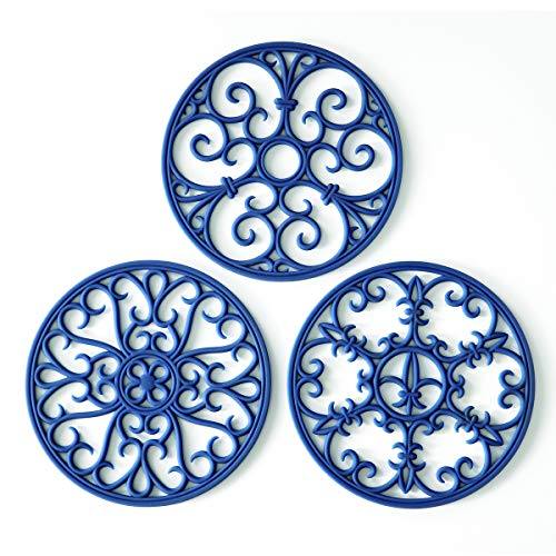 Teapot Trivet - Silicone Trivet Mat - Hot Pot Holder Hot Pads for Table & Countertop - Teapot Trivet Kitchen Trivets - Non-Slip & Heat Resistant Modern Kitchen Hot Pads For Pots & Hot Dish Blue Trivet Set of 3