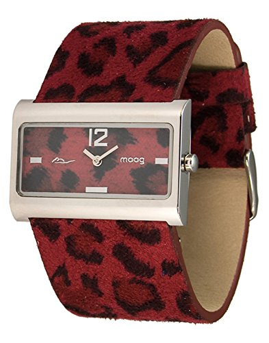 Moog Paris - Wild Origin - Women's Watch with red dial, red strap in Genuine calf leather, made in France - M41632-003