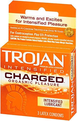 Trojan Charged Lubricated Condoms, 3 Count