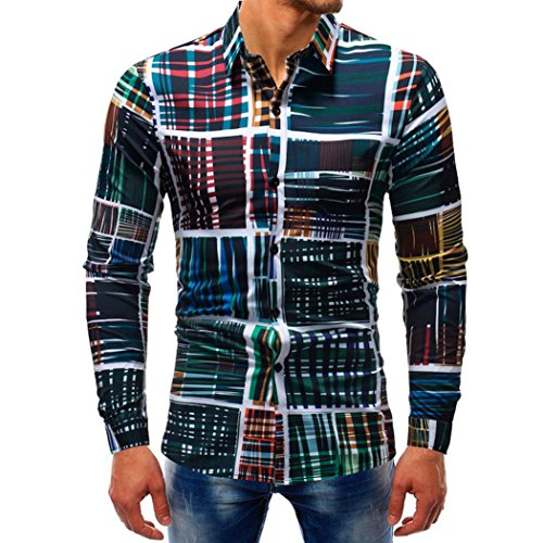 iLXHD Man Fashion Printed Blouse Casual Long Sleeve Slim Shirts Tops (2XL, Multicolor 4)