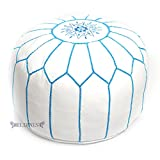 Stuffed Moroccan Ottoman White/Turquoise Leather Pouf Handmade Pouffe, Hassock, Tuffet, Foot Stool, Seating Foot Rest