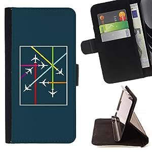 For Samsung Galaxy A3 Case , Avión Avión Traffic Control de vuelo trullo- la tarjeta de Crédito Slots PU Funda de cuero Monedero caso cubierta de piel