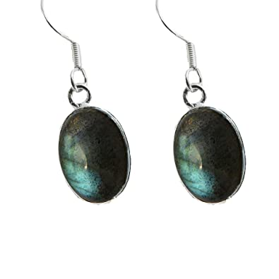 925 Sterling Silver Labradorite Oval Fishhook Earrings - January Birthstone - Magical Gemstones qX7AB