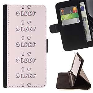 Momo Phone Case / Flip Funda de Cuero Case Cover - Love To Nuit Pink Heart texte - Samsung Galaxy A5 ( A5000 ) 2014 Version