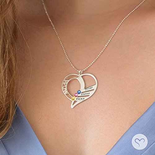 Engraved Mom Necklace w/Swarovski Birthstones - Personalized Heart Pendant- Gift Jewelry for Mom