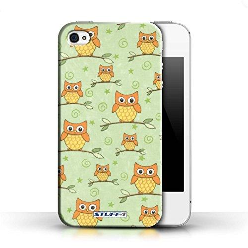 iCHOOSE Print Motif Coque de protection Case / Plastique manchon de telephone Coque pour Apple iPhone 4/4S / Collection Motif Hibou / Orange/Vert