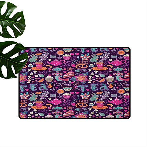 RenteriaDecor Tea Party,Cute doormats Vibrant Colored Abstract Expression of Tea Party Cupcakes Sugar Teacups and Pots 18
