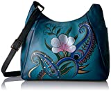 Anuschka Anna Handpainted Large Multi Pocket Hobo,Denim Paisley Floral, Dpf-Denim Paisley Floral