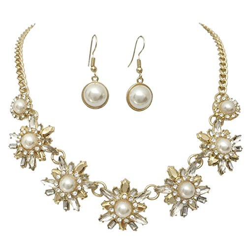 Lavender Starburst (Unique Imitation Pearl & Rhinestone Statement Necklace & Dangle Earrings Set (Gold Tone Starburst))