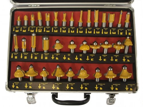 35 ROUTER BIT SET - 1/2'' CARBIDE BITS KIT Half Inch Shank ALUMINUM CASE - New