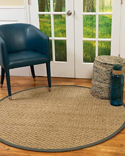 NaturalAreaRugs 100%, Natural Fiber Handmade Basketweave, Natural Seagrass Rug 10' Round Green Border