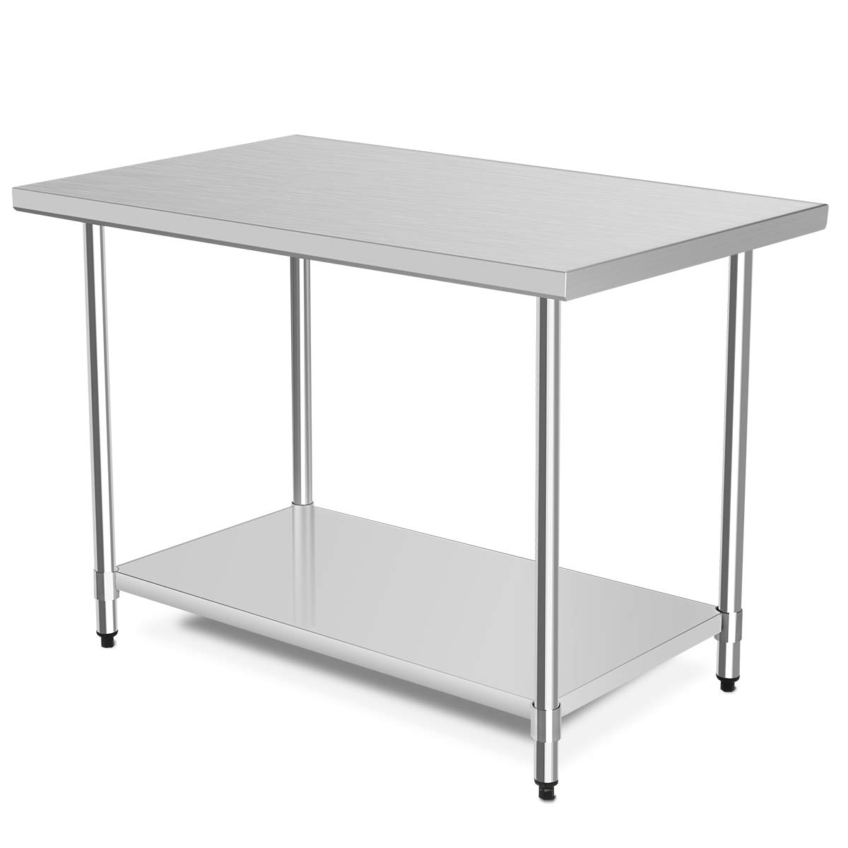 48'' x 30'' NSF Stainless Steel Table, Heavy Duty Commercial Kitchen Food Prep Table & Work Table, Wheels Installable, Adjustable Shelf, by WATERJOY