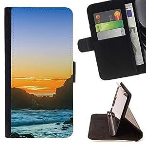 KingStore / Leather Etui en cuir / HTC One M8 / Puesta del sol de la playa rocosa