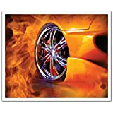 J.P. London POSLT2110 uStrip Lite Removable Wall Decal Sticker Mural Street Racing Fire Hot Wheels, 24-Inch X 19.75-Inch