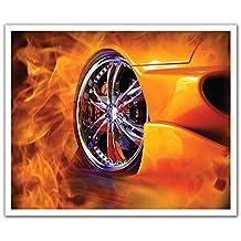 J.P. London POSLT2110 uStrip Lite Removable Wall Decal Sticker Mural Street Racing Fire Hot Wheels, 24-Inch X 19.75-Inch