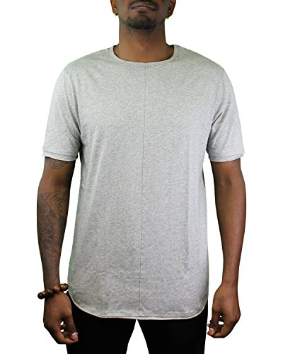 ShirtBANC Mens Hipster Hip Hop Long Drop Tail T Shirts (Raw Edge Heather Gray, M)