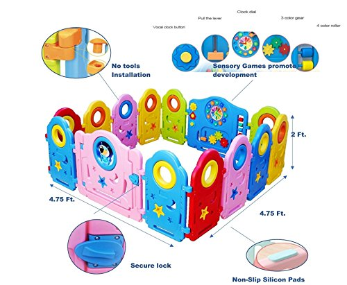 b0aa5adf1 Jual Colorful Baby Playpen - 14 Panel Kids Activity Center Portable ...