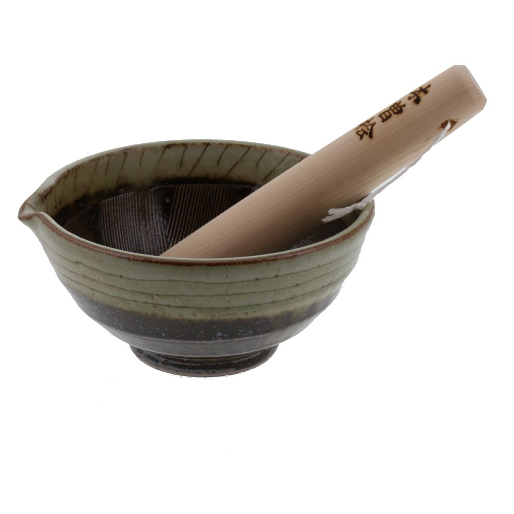 Zen Table Japan Ceramic Mortar & Pestle Set (Suribachi & Surikogi) with Spout 6.5 inches Handmade Traditional Style Made in Japan by Japan Table ware