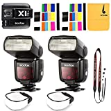 2x Godox TT685C 2.4GHz High Speed 1/8000s E-TTL II Camera Flash with X1C Flash Transmitter for Canon EOS Cameras