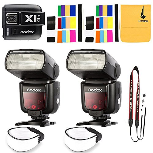 2x Godox TT685C 2.4GHz High Speed 1/8000s E-TTL II Camera Flash with X1C Flash Transmitter for Canon EOS Cameras by Godox