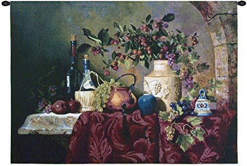 Tavola di Capri by Fran Di Giacomo | Woven Tapestry Wall Art Hanging | Classic Italian Still Life Feast | 100% Cotton USA Size 34x26