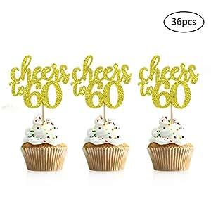 Juego de 36 adornos para cupcakes de 60 cumpleaños, con ...