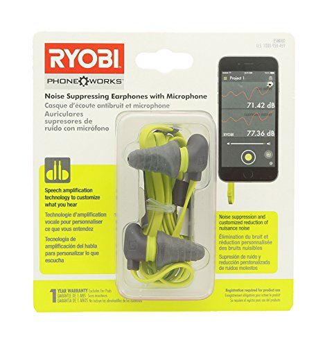Price comparison product image Ryobi ES8000 Phone Works Jobsite Noise Suppressing Earphones with Voice Amplifying Microphone