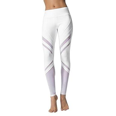 ADESHOP Femmes Taille Haute Longue Section Maille Coutures Pantalon De Yoga  Femmes Sports Gym Yoga En 8a53da33c59