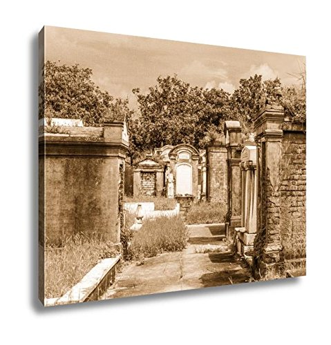 Ashley Canvas Lafayette Cemetery In New Orleans With Historic Grave Stones, Wall Art Home Decor, Ready to Hang, Sepia, 16x20, AG6469591 ()