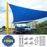 Quictent 24X24FT 185G HDPE Square Sun Shade Sail Canopy 98% UV Block for Patio Outdoor Swimming Pools with Free Hardware Kit (Ivory)