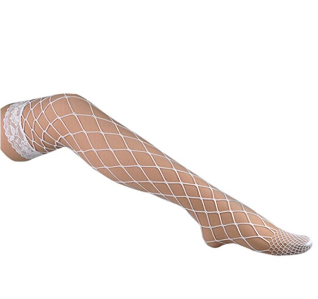 Women Sexy Hollow High Waist Tight Sparkle Glitter Rhinestone Fishnet Stockings Pantyhose (One Size, White 2)