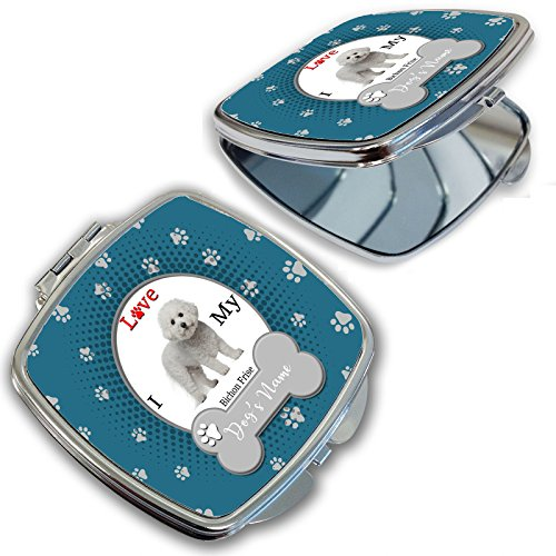 - BleuReign(TM) Personalized Custom Name I Love My Dog Bichon Frise Compact Mirror