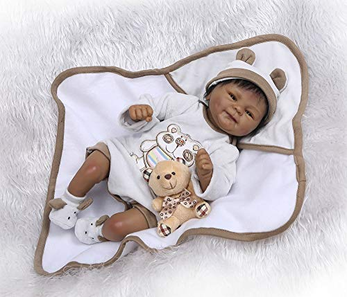 - Lilith 17 Inch 43cm Native Black Indian African Silicone Reborn Baby Boy Doll Real Lifelike Realistic Xmas Gift
