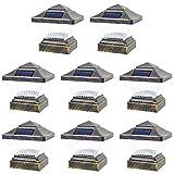 8 Pack Vintage Bronze Garden 4 x 4 Solar LED Post Deck Cap Square Fence Light Landscape Lamp Lawn PVC Vinyl Wood