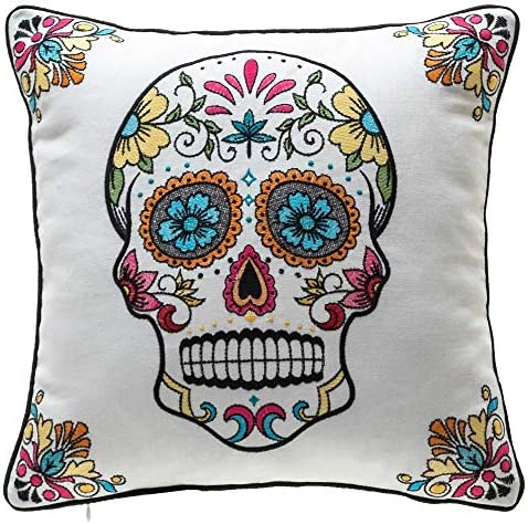 14 Karat Home Mona Sugar Skull Pillow with Down Alternative Insert for Halloween Decor 18 x 18 inches, Off – White