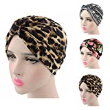 Ever Fairy Womens Floral Print Cotton Turban Chemo Sleep Cap,Turban Hat Cap Hair Wrap (3 Colors(Print Black+Striped Black+Leopard Color))