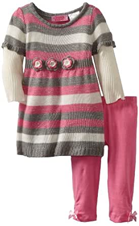 Young Hearts Baby Girls' 2 Piece Striped Legging Set, Grey, 12 Months
