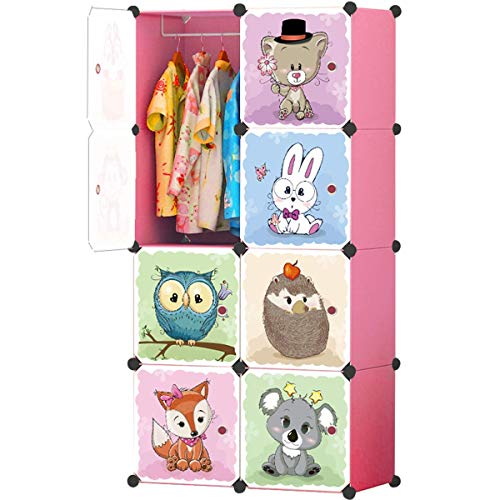 KOUSI Kids Dresser Kids Closet Portable Closet Wardrobe Children Bedroom Armoire Clothes Hanging Storage Rack Cube Organizer,Cute Cartoon,Safety & Large & Sturdy, Pink, 6 Cubes & 1 Hanging Section