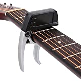 Electric Guitar Capo, One Handed Quick Change Acoustic Guitar Capo Spring Metal Clamp Capo Guitar Tuner for Acoustic Electric Guitar(Silver)