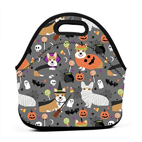 Corgi Halloween Costumes Mummy Vampire Ghost Just Dog Fabric Grey_824 Portable Lunch Containers, Work Lunches bag, Picnic, Travel, BBQs, Camping, Beach