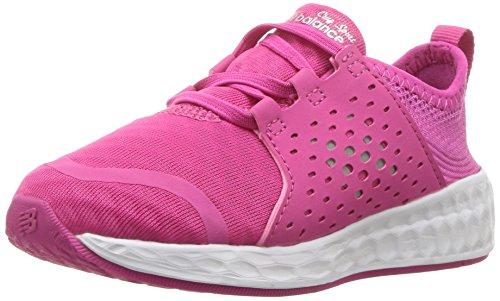 New Balance Girls' Cruz v1 Hook and Loop Running Shoe, Pink/White, 5 M US Toddler