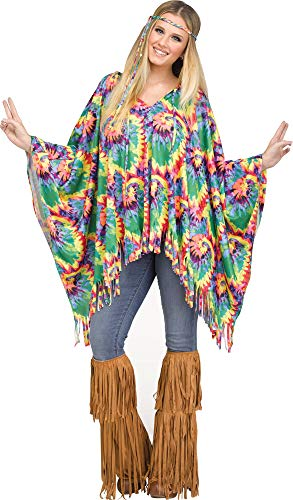 Fun World Tie-Dye Hippie Poncho for Halloween, School Acting, Costume Party, for Women Adult -