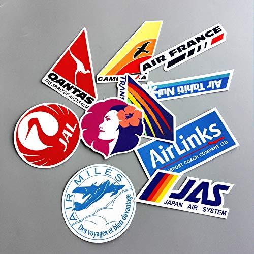10 Pieces/lot Airline Logo PVC Decal Sticker Fashion Luggage Carrier Brand Brand Handbag Sticker Sstickers ()