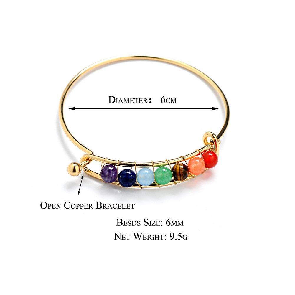 pierre agate perle yoga livr/é avec un sac de bijoux Aiuin Bracelet d/'/énergie 7/Chakra pierre pr/écieuses