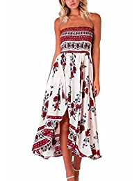Womens Sexy Bohemian Tube Dress Irregular Hem Beach Floral Dress