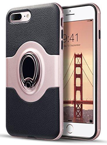 Lemans Swivel (iPhone 7 Plus Case, iPhone 8 Plus Case, UrbanDrama 360 Degree Kickstand Function Rotating Ring Holder Case for iPhone 7 Plus iPhone 8 Plus(5.5inch) [Support Magnetic Car Mount Case] Black/Rose Gold)